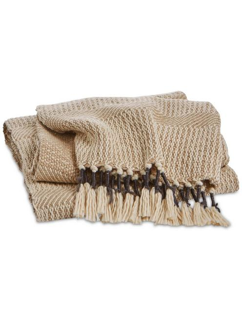 TAN TASSEL THROW BLANKET, DARK BEIGE