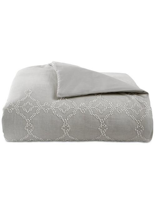 TILE SEED STITCH DUVET SET, DARK GREY