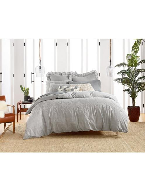 TILE SEED STITCH COMFORTER SET, DARK GREY