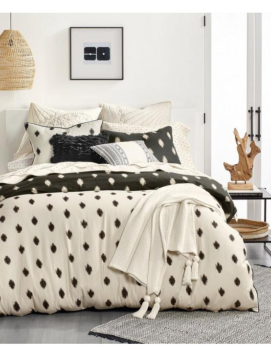 IKAT DOT DUVET SET, BLACK, productTileDesktop
