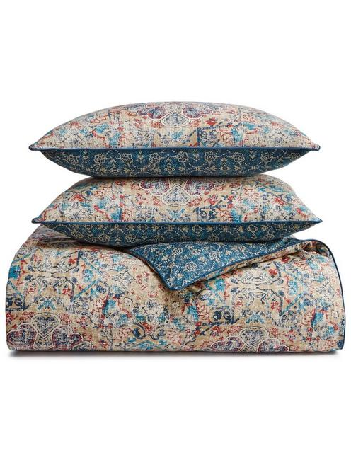 ALMA COMFORTER SET, BLUE MULTI