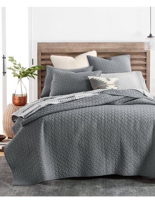 VINTAGE WASH COVERLET, DARK GREY