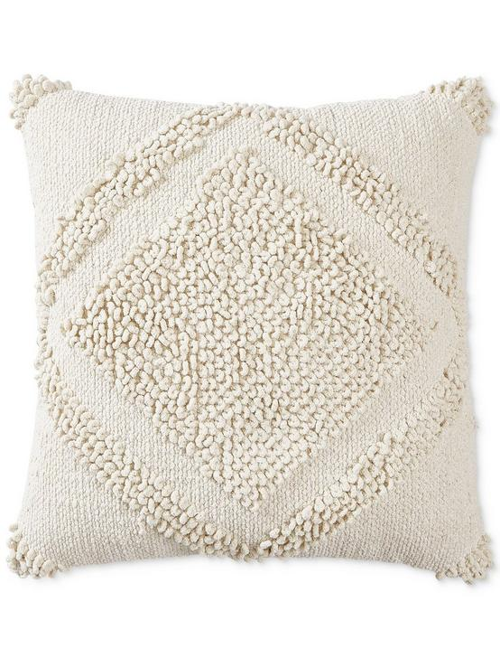 22X22 LOOP DIAMOND DECORATIVE PILLOW, DARK BEIGE, productTileDesktop