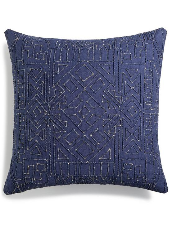 18X18 DORI EMBROIDERED PILLOW, MEDIUM LIGHT BLUE, productTileDesktop