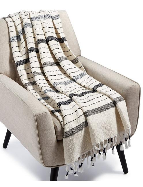 MINGLED YARN DYE THROW BLANKET, NATURAL
