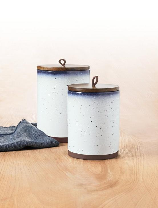 S/2 CANISTERS W/ WOOD LID AND LEATHER LOOP, NO COLOR, productTileDesktop