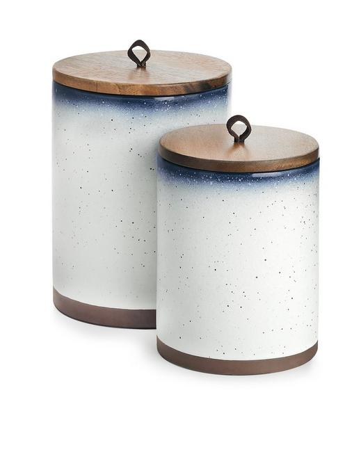 S/2 CANISTERS W/ WOOD LID AND LEATHER LOOP, NO COLOR