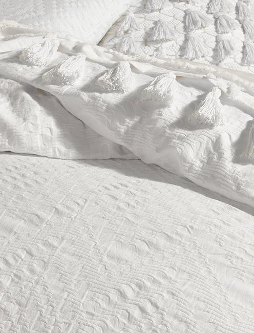 TAOS MATELASSE DUVET SET, NATURAL