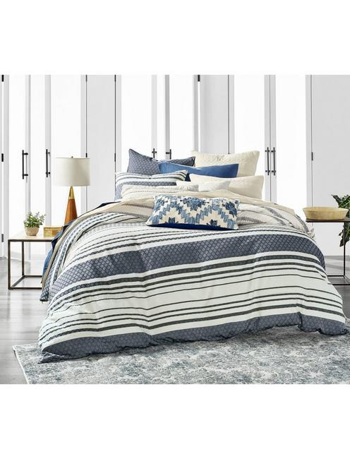 STRIPE DUVET SET, RINSE
