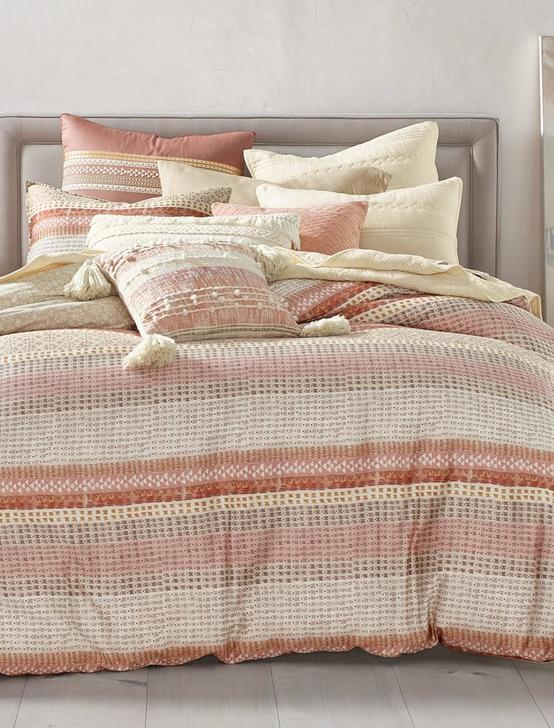 WOOD BLOCK STRIPE DUVET SET, DARK PINK, productTileDesktop