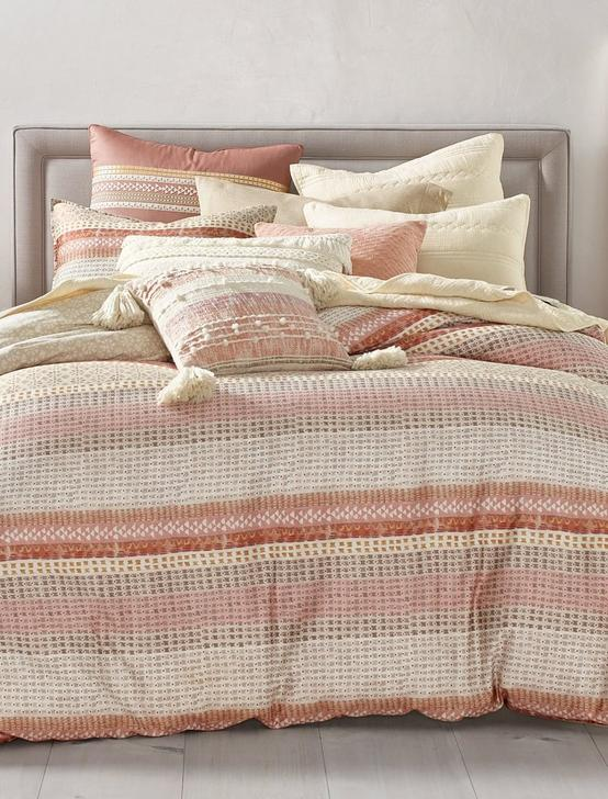 WOOD BLOCK STRIPE COMFORTER SET, DARK PINK, productTileDesktop