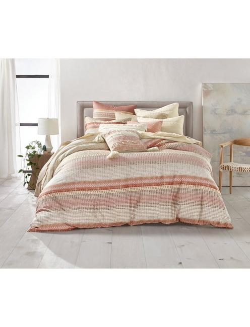 WOOD BLOCK STRIPE COMFORTER SET, DARK PINK