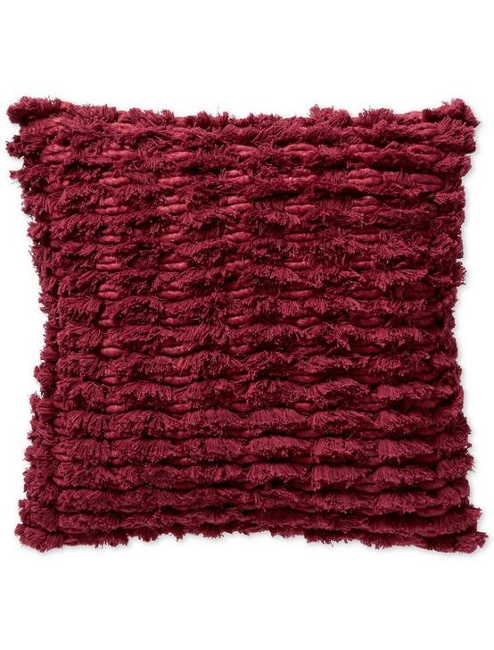 WOOD BLOCK STRIPE EURO SHAM, DARK RED, productTileDesktop