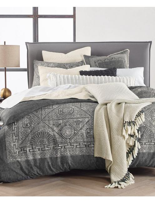 BALI BATIK COMFORTER SET, DARK GREY