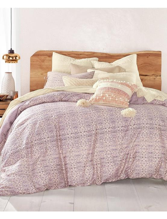 DISTRESSED TILE COMFORTER SET, DARK PURPLE, productTileDesktop