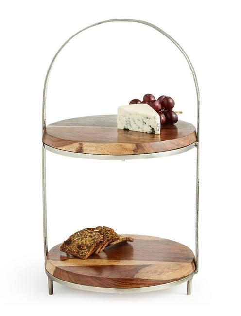 WOODEN TWO TIER SERVER,