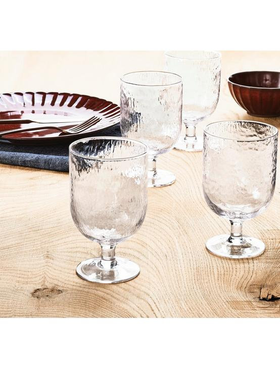 SET OF 4 TEXTURED GOBLET, NO COLOR, productTileDesktop
