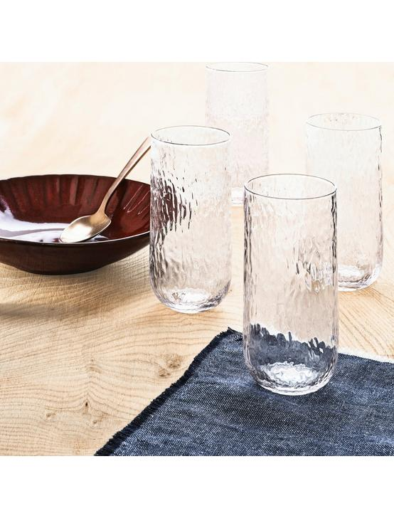 SET OF 4 TEXTURED HB GLASSES, NO COLOR, productTileDesktop