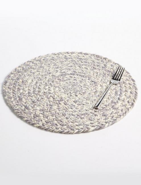 ROUND CHEVRON PLACEMAT - GRAY, NO COLOR