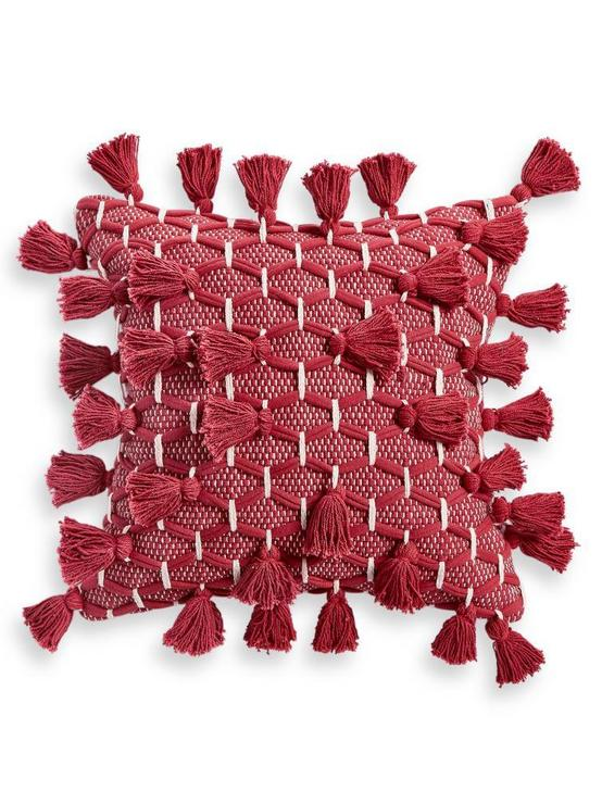 ALL TASSEL DECORATIVE PILLOW 18X18, DARK RED, productTileDesktop