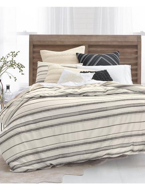 STRIPE EMBROIDERY FQ COMFORTER SET, MEDIUM BEIGE, productTileDesktop
