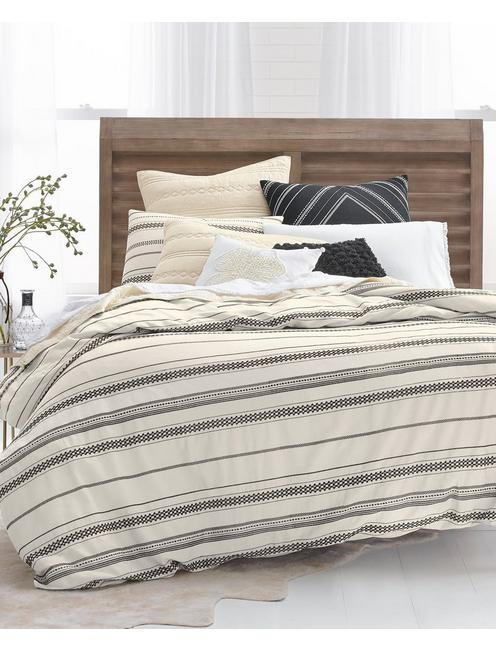 STRIPE EMBROIDERY FULL/QUEEN COMFORTER SET, MEDIUM BEIGE