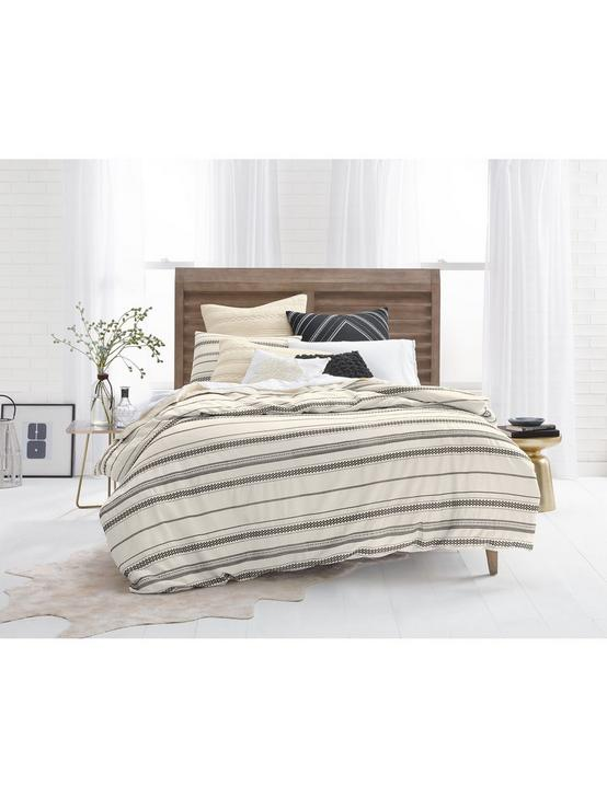 STRIPE EMBROIDERY FULL/QUEEN COMFORTER SET, MEDIUM BEIGE, productTileDesktop