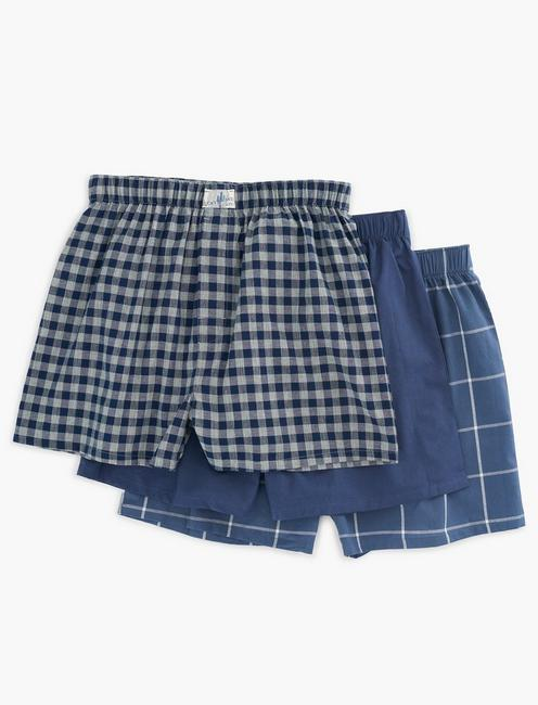 3 PACK WOVEN CHECK BOXERS,
