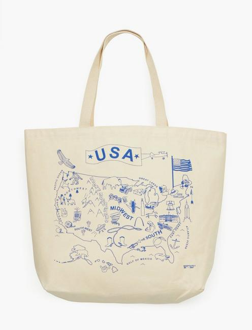 Maptote USA Beach Tote Bag, OPEN BROWN/RUST