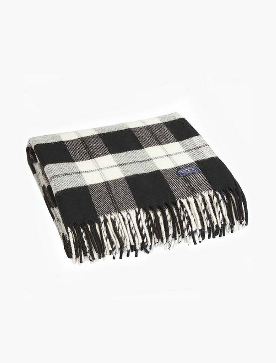 Faribault Bison Check Throw Blanket, BLACK, productTileDesktop