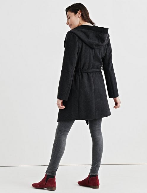 DOUBLE FACE WOOL COAT, BLACK MULTI