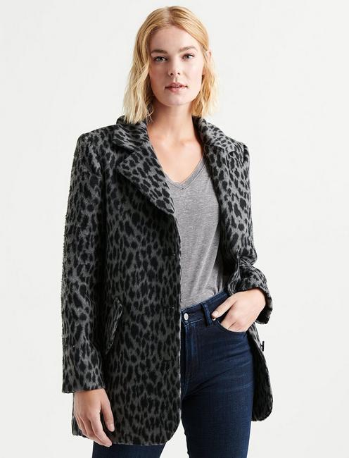 Lucky Brand Womens Plus Size Jacquard Leopard Jacket