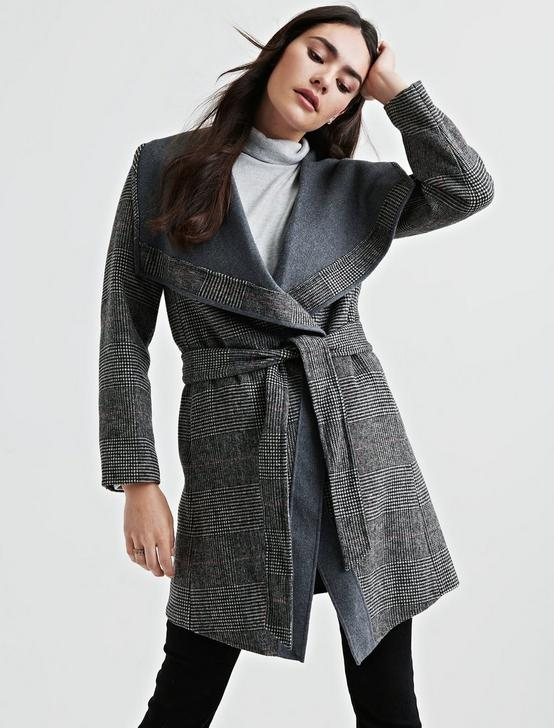 Plaid Double Face Wrap Jacket
