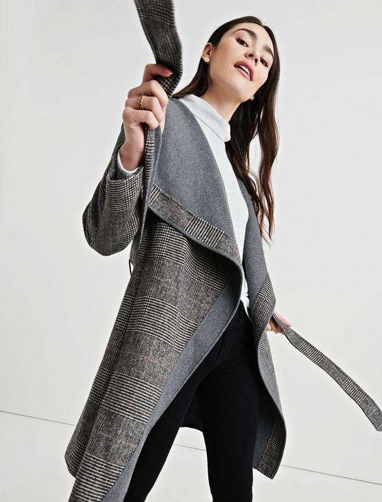 PLAID DOUBLE FACE WRAP JACKET, GREY MULTI, productTileDesktop