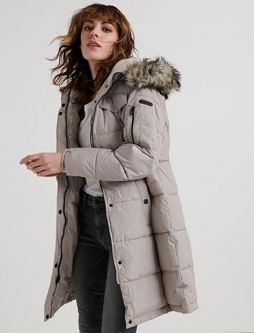 FAUX FUR HOODED PUFFER JACKET, PEARL