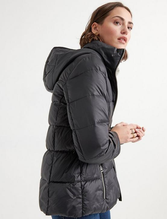 HOODED PUFFER JACKET, 001 LUCKY BLACK, productTileDesktop