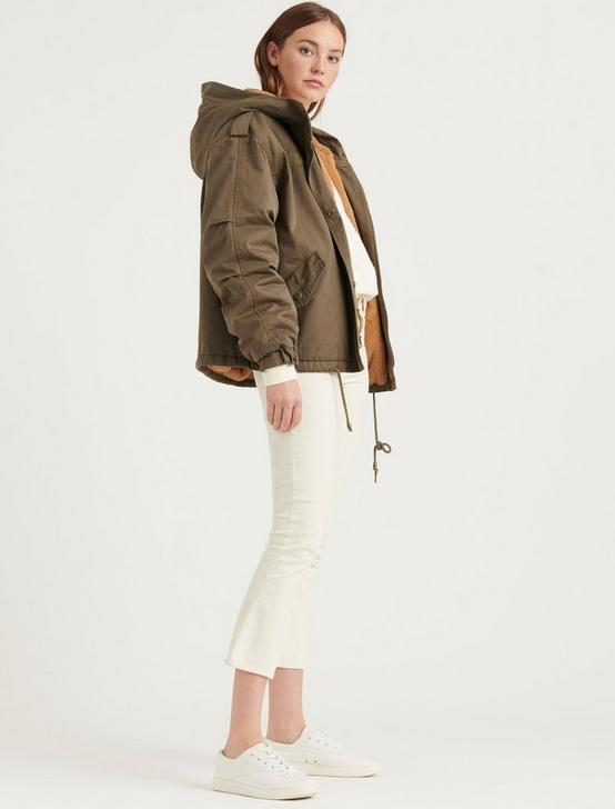 SHORT HOODED PARKA, 378 OLIVE, productTileDesktop