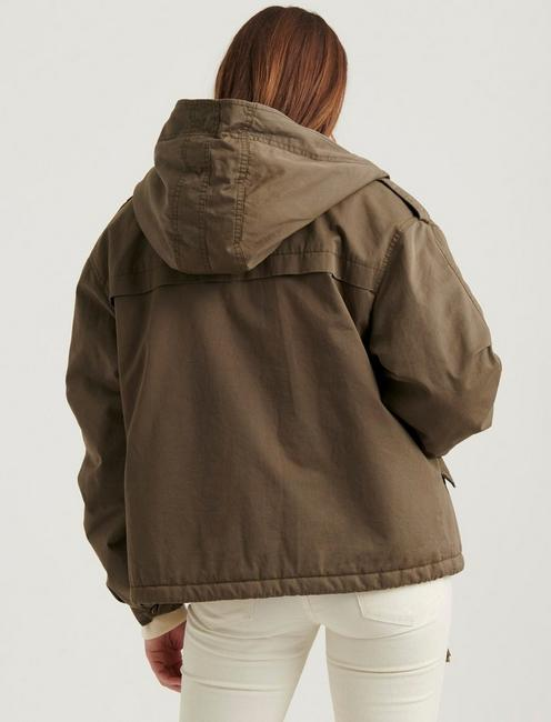 SHORT HOODED PARKA, 378 OLIVE