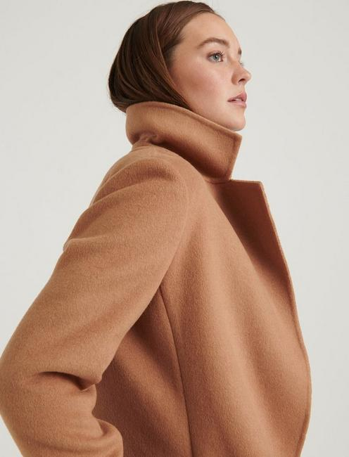 WOOL WRAP COAT, CAMEL