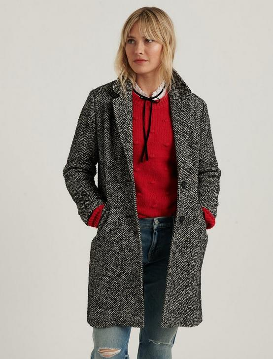 WOOL HERRINGBONE COAT, BLACK MULTI, productTileDesktop