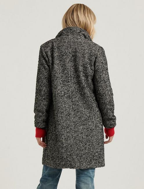 WOOL HERRINGBONE COAT, BLACK MULTI