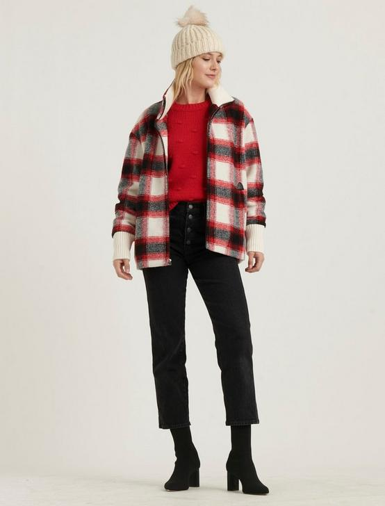 PLAID WOOL ZIP JACKET, RED MULTI, productTileDesktop