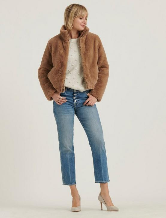 FAUX FUR JACKET, BEIGE, productTileDesktop