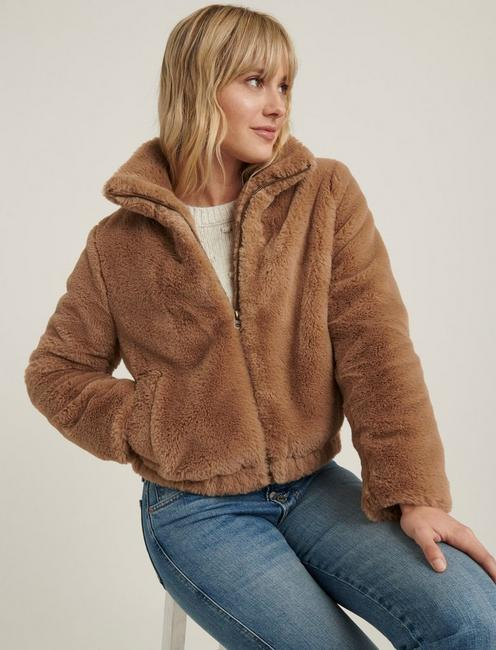 FAUX FUR JACKET, BEIGE