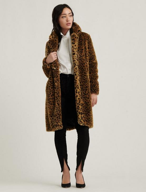 FAUX LEOPARD COAT, BROWN MULTI, productTileDesktop