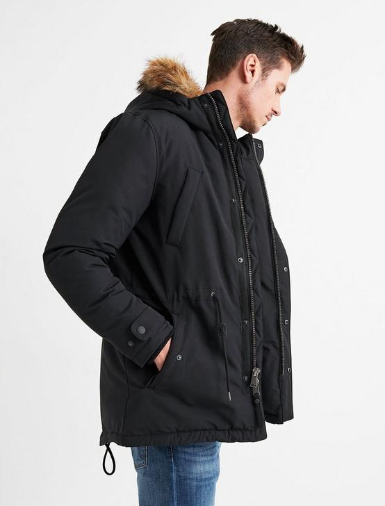 FUR TRIM PUFFER JACKET, #001 BLACK, productTileDesktop