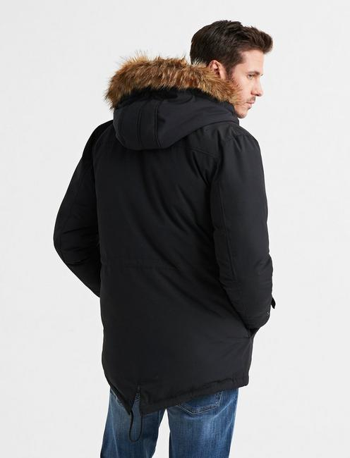 FUR TRIM PUFFER JACKET, #001 BLACK