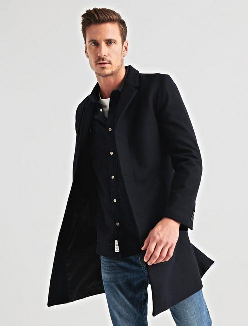 Wool Blend Car Coat, #437 NAVY