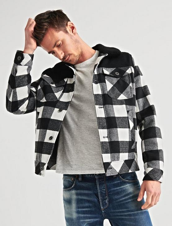 PLAID SHERPA TRUCKER JACKET, BLACK/NATURAL, productTileDesktop