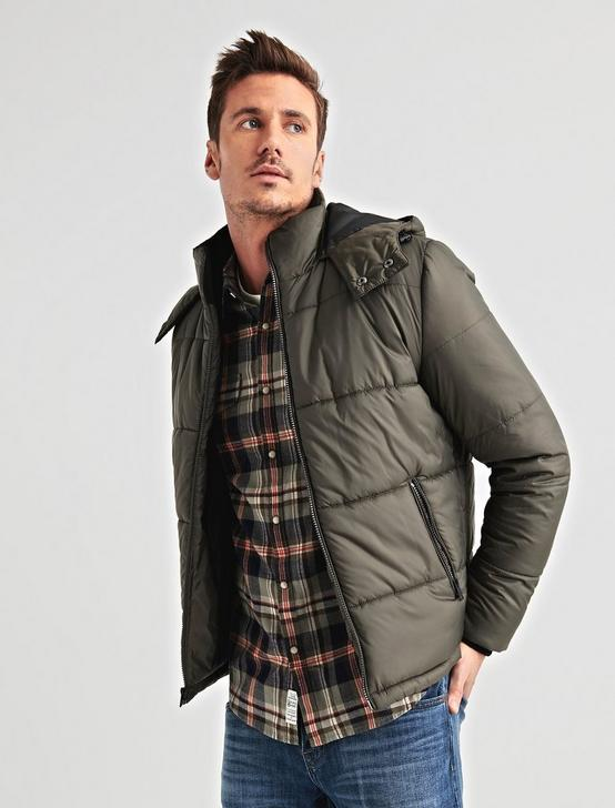 PUFFER JACKET, 378 OLIVE, productTileDesktop
